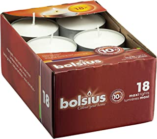 BOLSIUS Tea Lights Candles - Pack of 18 White Unscented Candle Lights with 10 Hour Burning Time - Tea Candles for Wedding, Home, Parties, and Special Occasions