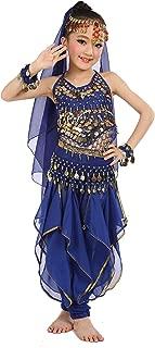 Cielary Kids Girls Belly Dance Halter Top Harem Pants Costume Set Halloween Outfit with Head Veil Waist Chain and Bracelets