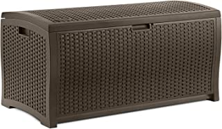 Beautiful Most Popular Top Seller Large Capacity 99-Gallon Weather Water Proof Indoor Outdoor Deck Pool Patio Laundry Linen Lightweight Portable Patio Storage Basket Bench Box Container Mocha Brown
