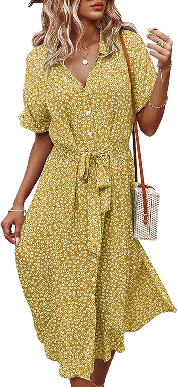 Angashion Women Dresses Casual Short Sleeves Floral Print Button Down V Neck Summer Boho Midi Dress