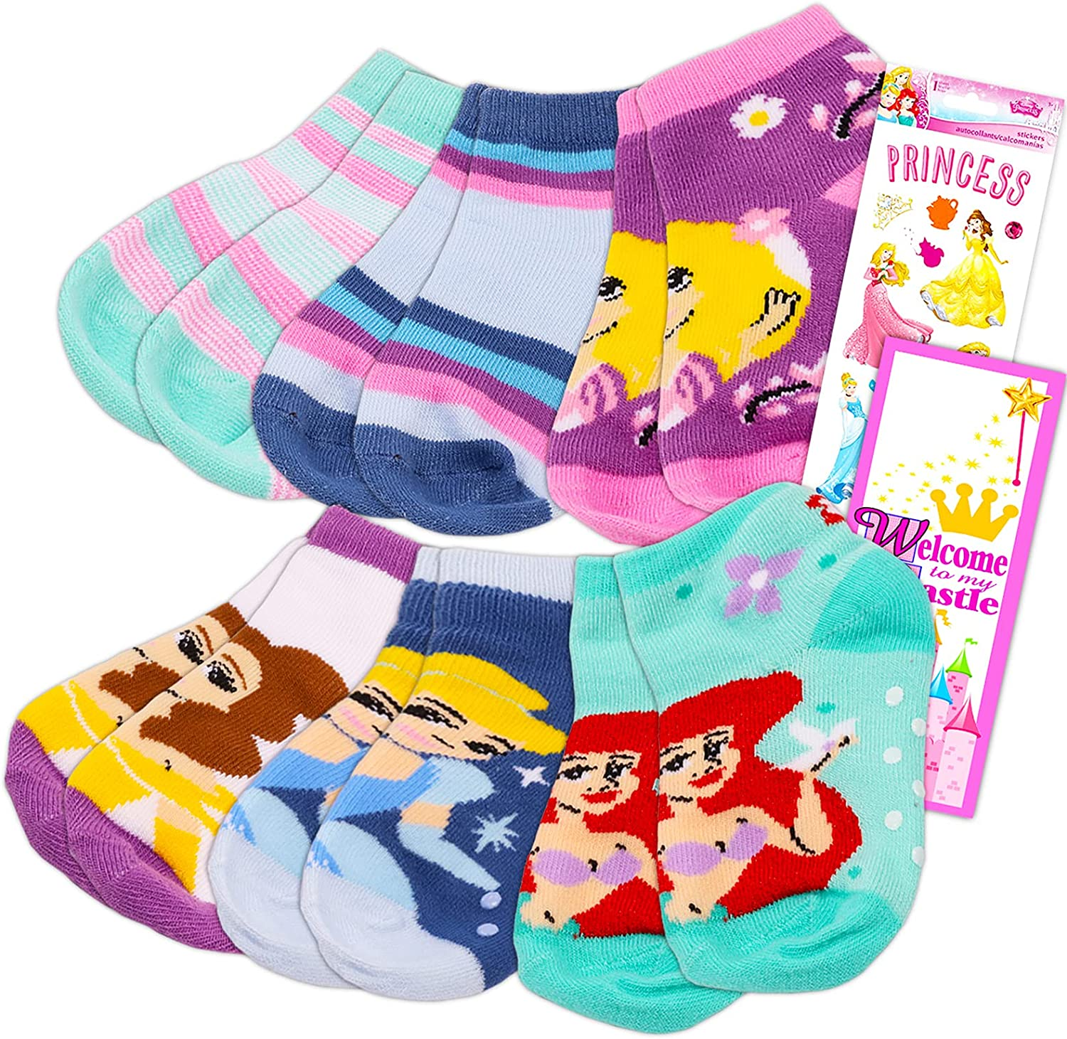 Disney Princess Socks Bundle (6 Pairs) for Toddlers Ages 2 to 4 | for Toddler, Little Girl, Big Girl - Value Pack Includes Princess Socks, Sticker Pack, and More