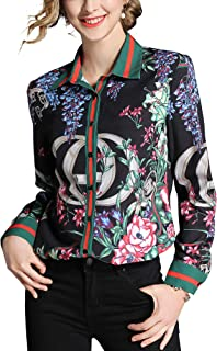 Women's Floral Print Button Down Shirts Vintage Tops Luxury Long Sleeve Blouses