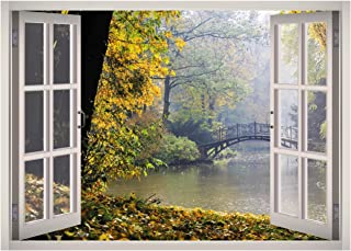 West Mountain Rainy Nature Lake Window 3D Wall Decal Art Removable Wallpaper Mural Sticker Vinyl Home Decor W54 (Small (2...