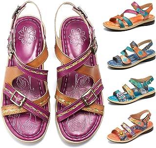 aaf6a11c1a3222 Camfosy Sandales Cuir Femmes Plates, Chaussures de Marche Été à Talons  Plats Semelle Confortable Sandales
