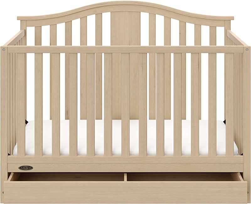 Graco Solano 4 In 1 Convertible Crib With Drawer Driftwood Easily Converts To Toddler Bed Day Bed Or Full Bed Three Position Adjustable Height Mattress Assembly Required Mattress Not Included