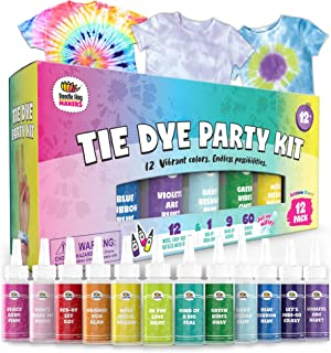 Doodlehog Easy Tie Dye Party Kit for Kids, Adults, and Groups. Create Vibrant Designs with Non-Toxic Dye. 8 Colors Include...