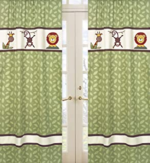Jungle Time Green Leaf Print Window Treatment Panels by Sweet Jojo Designs - Set of 2