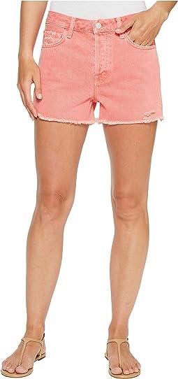 Gracie High-Rise Shorts w/ Raw Hem in Glowing Blossom