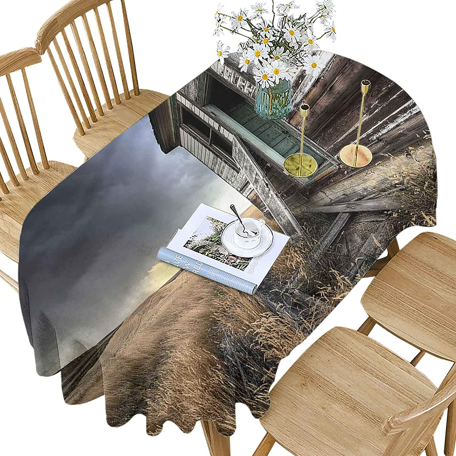 Rustic Polyester Oval High quality new Tablecloth Wooden Field Weekly update Patte Farmhouse in