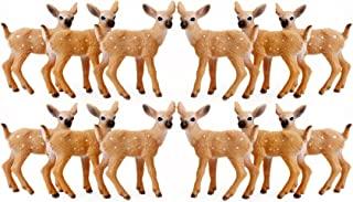 RESTCLOUD 12Pcs Deer Figurines Cake Toppers, Deer Toys Figure, Small Woodland Animals Set of 12 Fawn