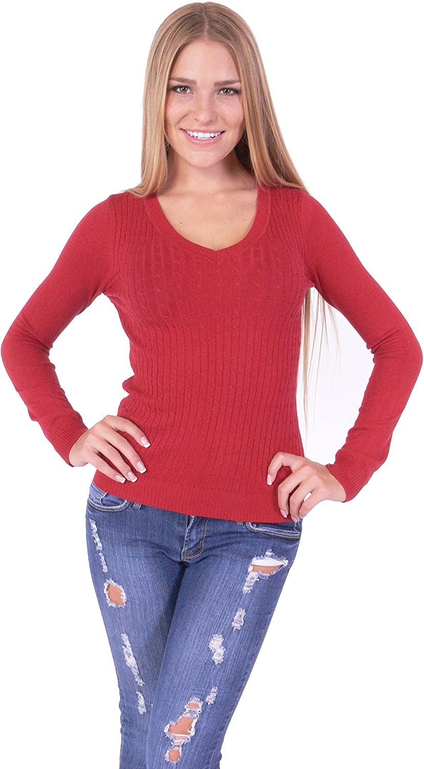 Hollywood Star Fashion Cable Knit V Neck Pull Over Long Sleeve Sweater