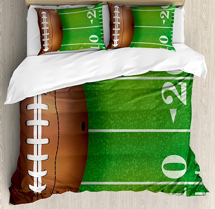 Lunarable Boy's Room Duvet Cover Set Queen Size, American Football Field and Ball Realistic Vivid Illustration College, Decorative 3 Piece Bedding Set with 2 Pillow Shams, Green Brown White