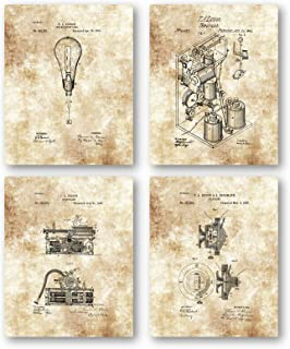 Original Thomas Edison Drawings Artwork - Set of 4 8 x 10 Unframed Patent Prints - Great Gift for Electricians, Engineers ...