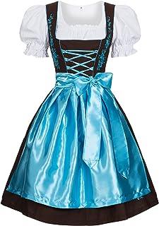 Gaudi-Leathers Damen Dirndl Kleid Dirndlkleid Trachtenkleid Midi mit Stickerei Braun