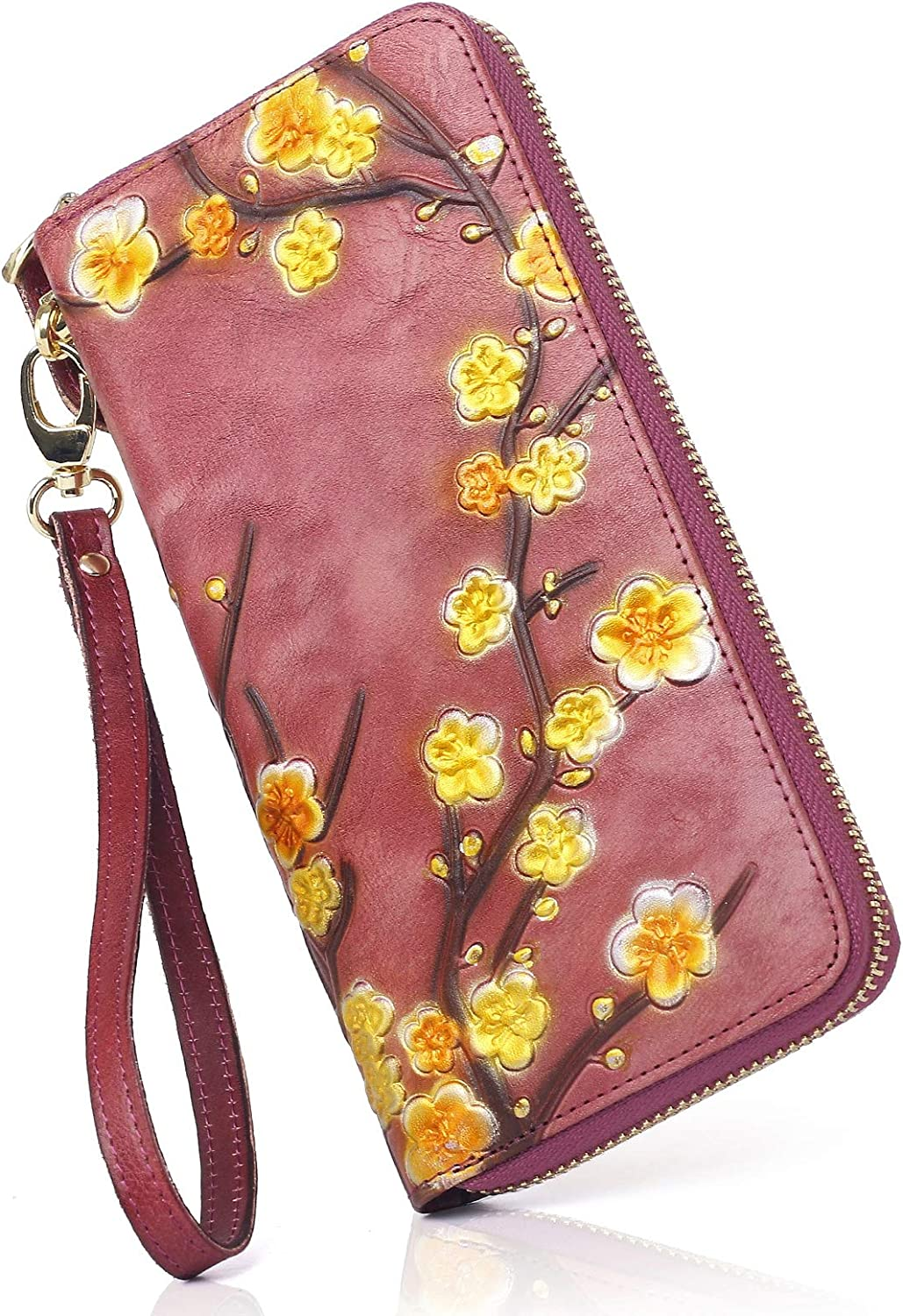 APHISON Super-cheap Women RFID Ranking TOP17 Leather Wallet Wr Ladies Flowers Painted Hand