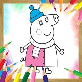 Coloring Book Pink Pig