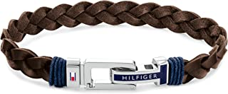 Tommy Hilfiger Men's Jewelry Flat Braided Leather Bracelet