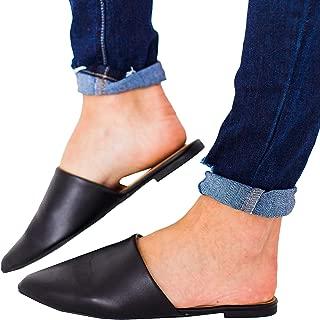 Womens Backless Slip On Pointed Toe Flat Sandals Low Heel Mule Dress Loafer Slide Slipper Shoes