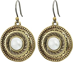 Etched Coin Pearl Drop Earrings