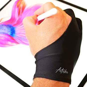 Articka Artist Glove for Drawing Tablet, iPad (Smudge Guard, Two-Finger, Reduces Friction, Elastic Lycra, Good for Right and Left Hand)… (Large, Black)