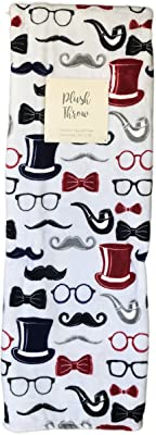 "Azalea Collection Gentleman Top Hats Pipes Mustache's Eye Glasses & Bow Ties Plush Throw Blanket 50"" x 70"""