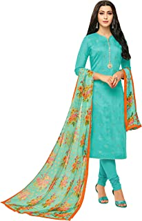 Rajnandini Women's Turquoise blue chanderi silk Printed Semi-Stitched Salwar Suit Material With Printed Dupatta (Free Size)