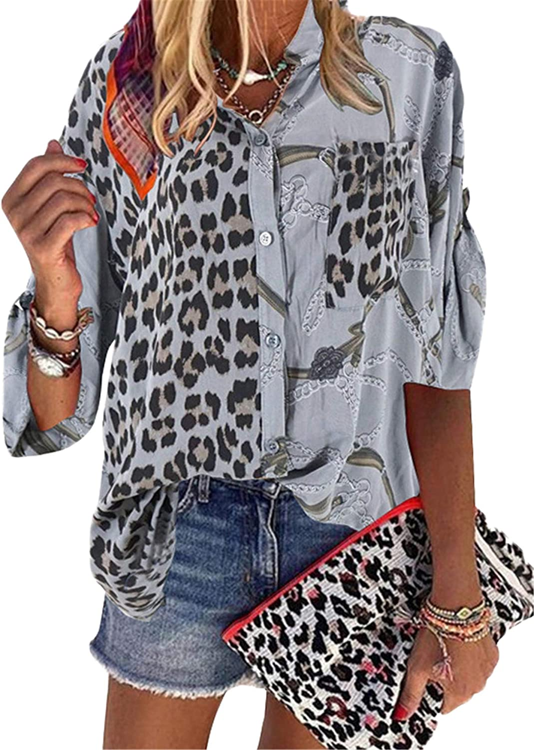 Andongnywell Women's Casual Leopard Print Tops Blouse V Neck Half Sleeve Button Down Shirt with Pocket