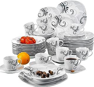 Assiette Creuse 21,5cm Bols /à C/ér/éales 17cm Vaisselles pour 12 Personnes Fleuri Assiette à Dessert 19cm Veweet EMILY 48pcs Service de Table Pocelaine 12pcs Assiettes Plates 24,6cm Assiette /à Dessert 19cm