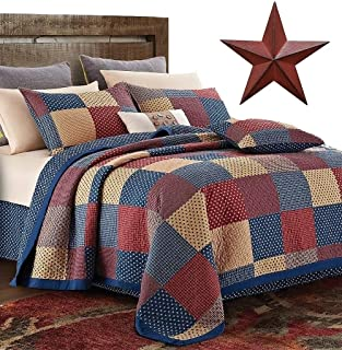 Country Home Collection Vintage Americana Primitive Patchwork Charm 3pc King Size Quilt Set + Metal BARN Star!