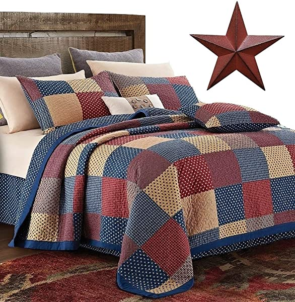 Country Home Collection Vintage Americana Primitive Patchwork Charm 3pc Full Queen Quilt Set Metal BARN Star