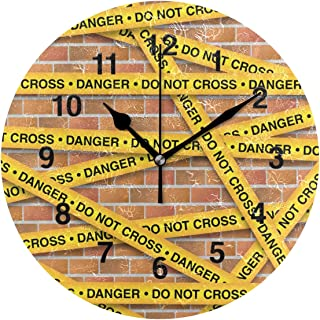 Jojogood Yellow Police Lines Collection Clock Wall Decor Acrylic Decorative Round Clock for Home Bedroom Living Room Art