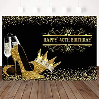 Mehofoto Happy 40th Birthday Backdrop Gold Crown Heels Decorated Background 8X6Ft Vinyl Birthday Party Wine Glasses Decorated Background Booth Banners Decorated With Custom Photography Backdrops Props