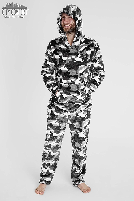 CityComfort Pijamas Hombre Pijamas Hombre Invierno Suaves Pijamas Hombre Forro Polar Sudadera con Capucha y Pantalon Regalos para Hombres