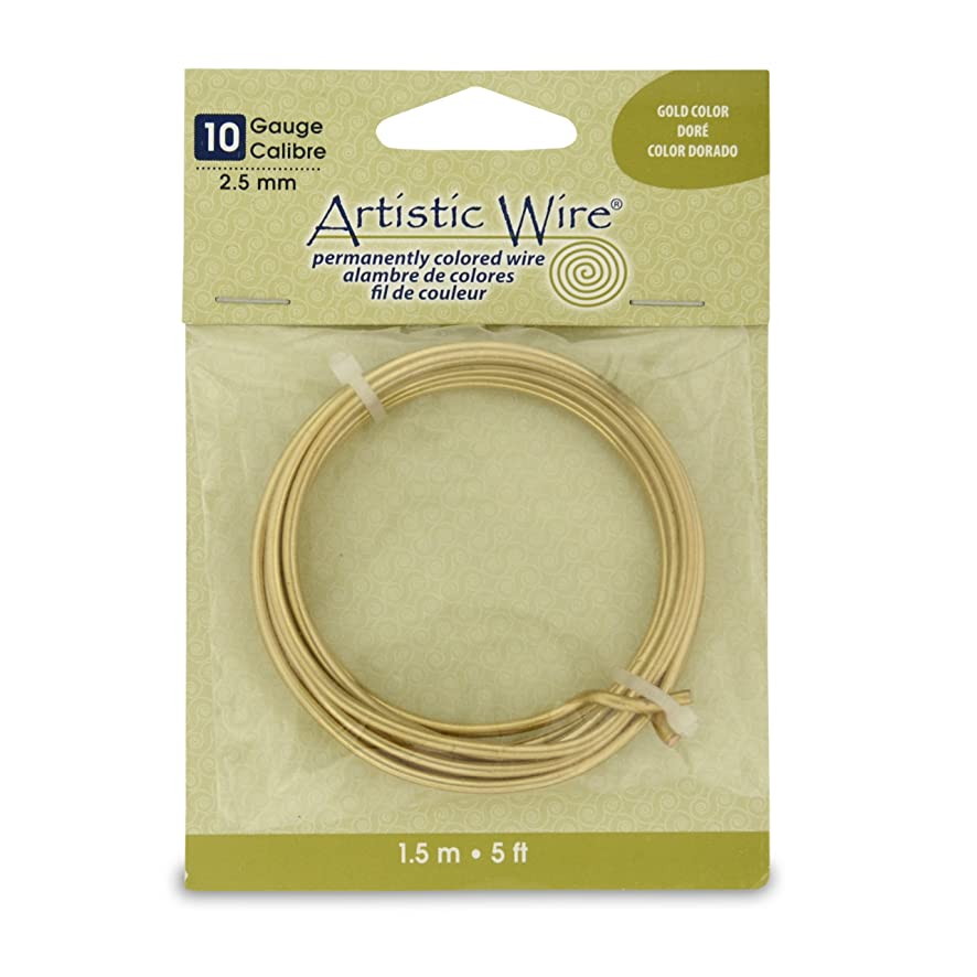 Artistic Wire 10S Gauge Wire, Gold Color, 5-Feet