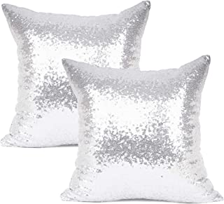 YOUR SMILE Pack of 2, New Luxury Series Silver Decorative Glitzy Sequin & Comfy Satin Solid Throw Pillow Cover Cushion Case for Wedding/Christmas,18