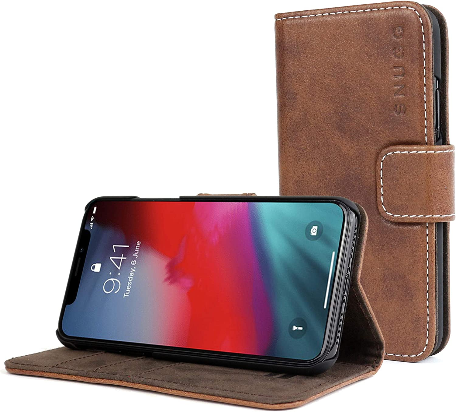 Leather Card Case Wallet with Handy Stand Feature Snugg iPhone 12 Pro Max Wallet Case Legacy Series Flip Phone Case Cover in Red