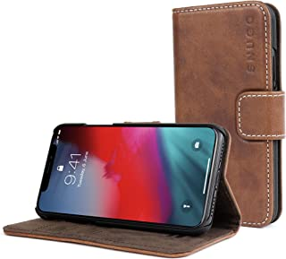 Snugg iPhone Xs (2018) / iPhone X (2017) Wallet Case – Leather Card Case Wallet with Handy Stand Feature – Legacy Series Flip Phone Case Cover in Distressed Brown