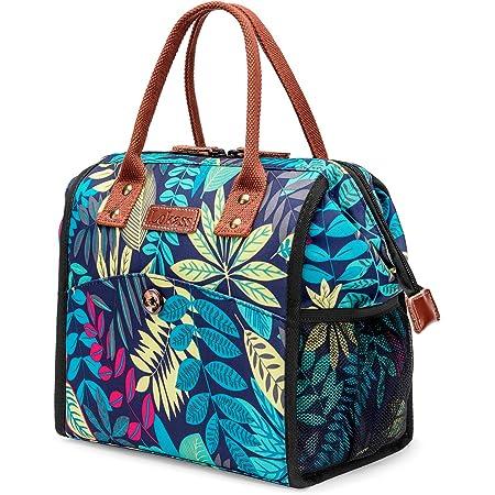 UTOTEBAG Sac Isotherme Repas Lunch Bag Sac Déjeuner Portable 10L pour Pique-Nique/École/Travail/Familie/Enfant/Hommes/Femmes-Feuilles Multicolore Bleu