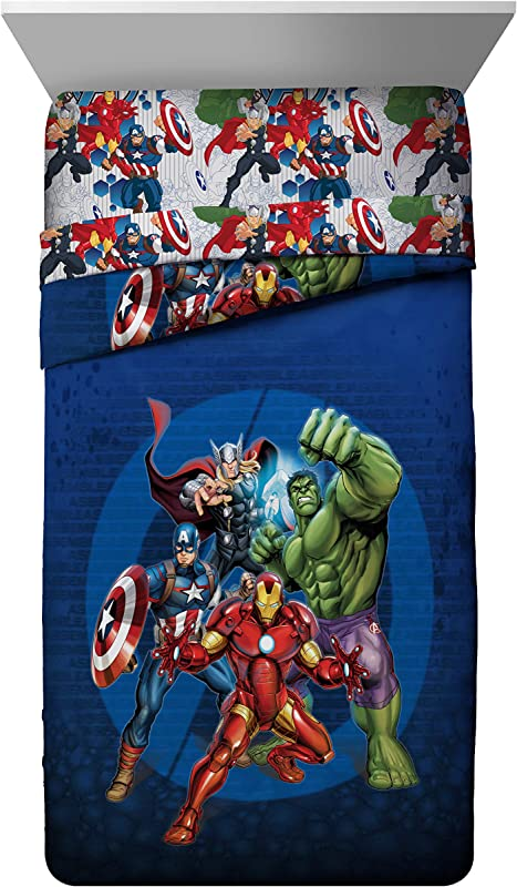 Marvel Avengers Blue Circle Twin Full Comforter Super Soft Kids Reversible Bedding Features Iron Man Hulk Captain America And Thor Fade Resistant Polyester Fill Official Marvel Product
