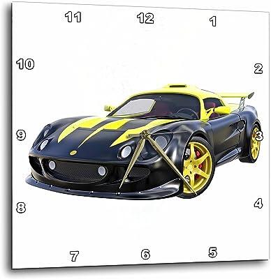 3dRose Boehm Graphics Car - Racing Sports Car Black and Yellow - 15x15 Wall Clock (
