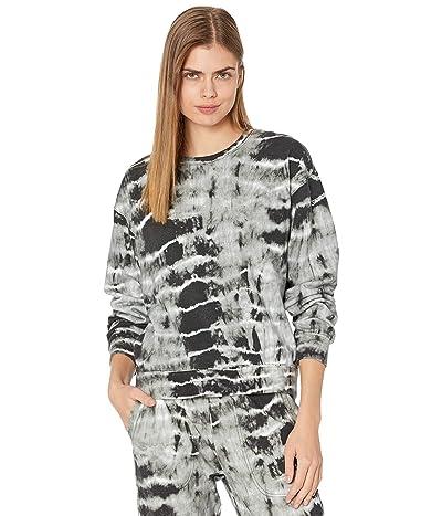 Nicole Miller Crew Neck Sweatshirt with Embroidery (Black/White) Women