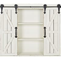 Kate and Laurel Cates Rustic Wood Wall Storage Cabinet with Barn Doors (Multi Colors)