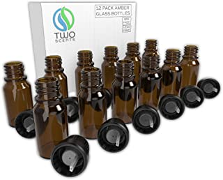 Two Scents Essential Oil Bottles - A set of 12 Amber glass bottles for essential oils, Aromatherapy, Perfume Samples, Mini 10 ml Glass Vials With Cap and Dropper | Complete Carrier Oil Kit – DIY