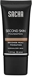 Second Skin Liquid Foundation by Sacha Cosmetics, Liquid Face Makeup to give Flawless Looking Skin, Medium Coverage, for A...
