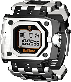 BullToro Mens Crown Operated Digital with Stainless Steel Case and Bracelet - 5001