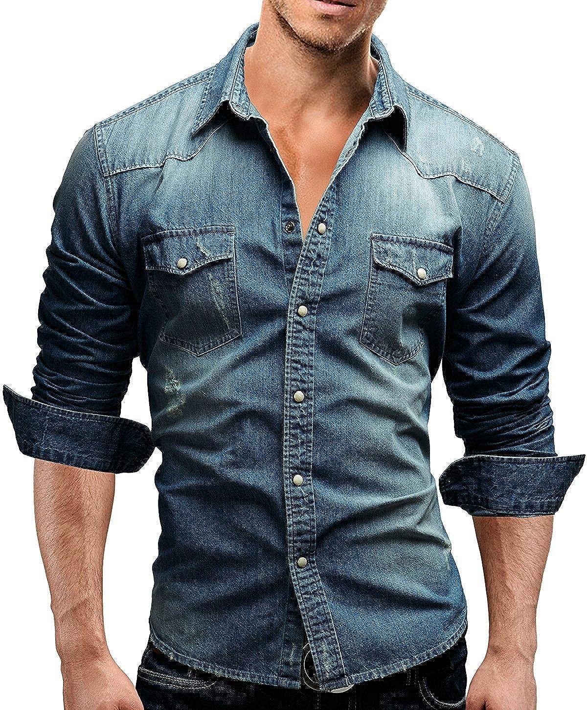 Men's Cotton Cowboy Denim Shirt Snap Button Up Long Sleeve Casual Slim Fit Shirts