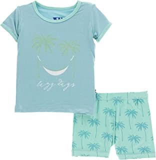 Little Boys Print Short Sleeve Pajama Set with Shorts - Glass Palm Trees, 3T