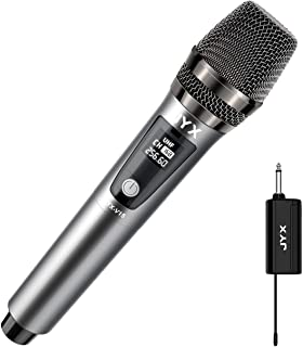 JYX Wireless Microphone, Dynamic Karaoke Microphone with Receiver and Anti-Slip Ring, 80ft Transmission Distance, Recharge...