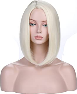 YOPO Short Bob Wig Synthetic Anime Straight Wig Natural Looking Middle Part Shoulder Length Hair wigs for Women(Light Blonde)