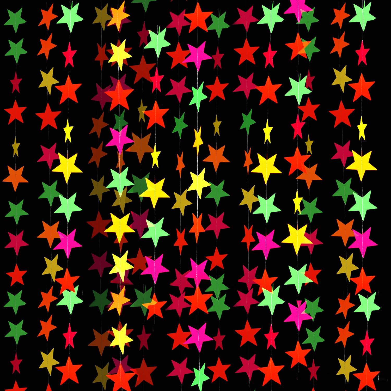 8 Piezas de Guirnalda de Papel de Neón Guirnaldas de Estrellas de Neón Decoraciones Colgantes para Bodas de Cumpleaños Luz Negra Reactiva Fiesta de Resplandor UV: Amazon.es: Juguetes y juegos